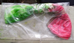 dyed fan folded scarf in ziptop bag